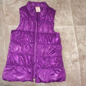 Purple partial sequined vest